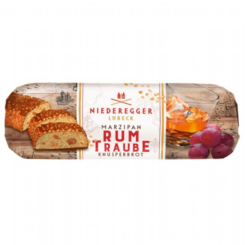 Rum & Raisin Crispy Almonds Milk Chocolate Marzipan NIEDEREGGER LUBECK 125g